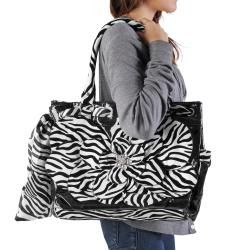 Adi Designs Womens Oversized Flower Detail Zebra Print Handbag