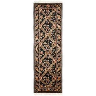 Asian Hand knotted Royal Kerman Black Wool Rug (26 x 18)