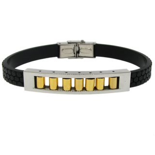 Two tone Stainless Steel and Black Rubber Mens ID Bracelet
