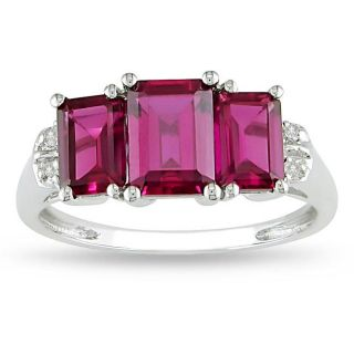 10k White Gold Created Ruby and Diamond 3 stone Ring