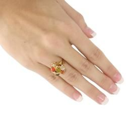 Angelina DAndrea 14k Gold plated Oval shaped Multi gemstone Ring