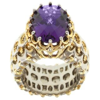 Michael Valitutti Two tone Amethyst and White Sapphire Ring
