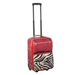 Terrida 19 inch Red and Zebra Printed Soft Leather Carry On Upright