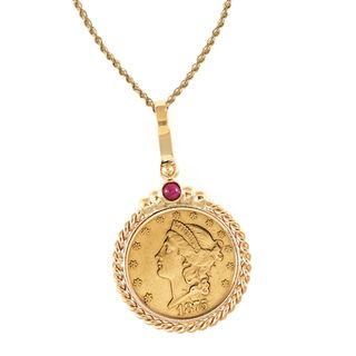 14k Gold Ruby $20 Liberty Gold Piece Double Eagle Coin Twisted Rope