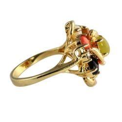Angelina DAndrea 14k Gold plated Oval shaped Multi gemstone Ring