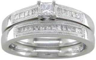 14kt White Gold 1/2 ct Diamond Princess cut Wedding Set
