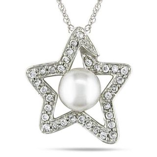 14k Gold 1/4ct TDW Diamond and FW White Pearl Star Necklace (H I, I1