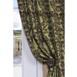 Flocked Firenze Fern Green Faux Silk 108 inch Curtain Panel