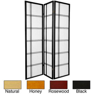 Wood/ Rice Paper 6 foot 4 panel Double Cross Two sided Screen (China