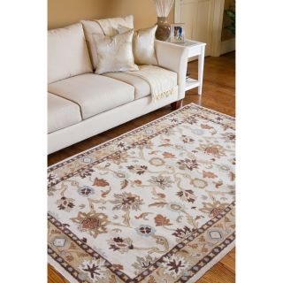 Hand tufted Traditional Coliseum Vanilla Floral Border Wool Rug (5 x