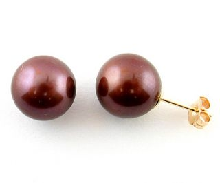 DaVonna 14k Yellow Gold Chocolate FW Pearl Stud Earrings (7 7.5 mm)