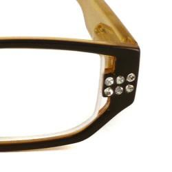 Urban Eyes Womens Crystal Butterscotch Reading Glasses