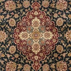 Asian Hand knotted Royal Kerman Navy and Red Wool Rug (6 x 9
