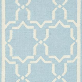 Moroccan Light Blue/ Ivory Dhurrie Wool Rug (26 x 10)