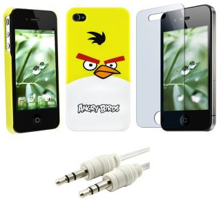Yellow Angry Birds Case/ Screen Proecor/ Cable for Apple iPhone 4