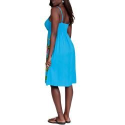 Womens Turquoise Floral V Neck Sundress (Indonesia)