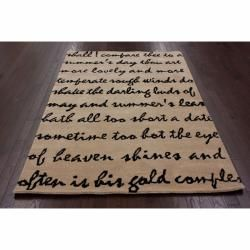 Handmade Luna Poem Wool Rug (8 x 10)