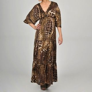 Apart Womens Satin Animal Print Maxi Dress