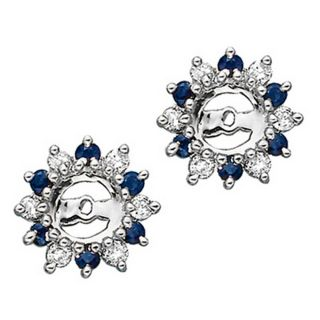 14k White Gold 1/4ct TDW Diamond and Sapphire Earrings Jackets (J K