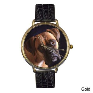 Whimsical Womens Boxer Photo Leather Strap Watch