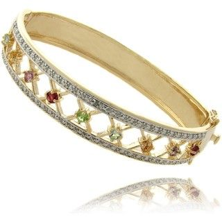 Gem Jolie 14k Gold Overlay Multi gemstone and Diamond Accent Bracelet