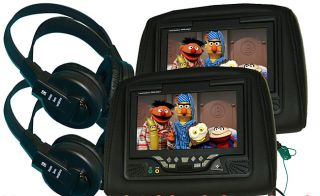Paired Black 7 inch Headrest DVD Players