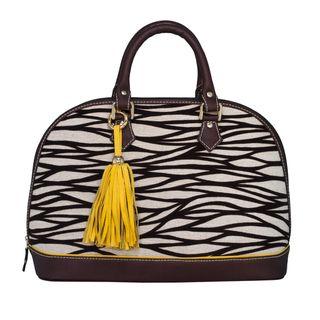 Claudia G. Antonia Petite Tan/ Black Zebra Satchel Bag