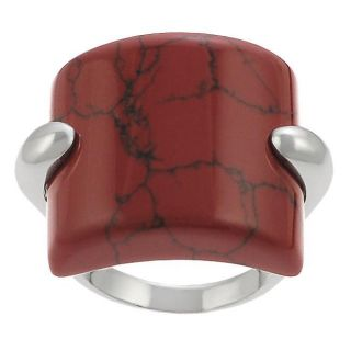 Tressa Sterling Silver Synthetic Red Jasper Cocktail Ring