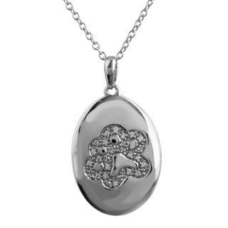 ASPCA ender Voices Silver 1/10c DW Diamond Medallion Necklace (I J
