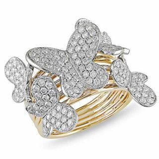 Miadora 18k Two tone Gold 1 1/2ct TDW Diamond Butterfly Ring (G H, SI1