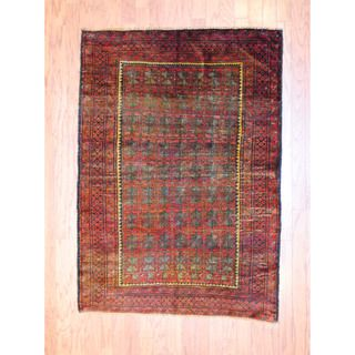 Afghan Hand knotted Antique Tribal Balouchi Red/ Green Wool Rug (38 x