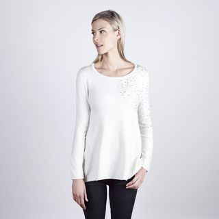Colour Works Womens Ivory Jewel Shoulder Long Sleeve Top