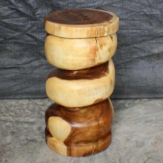 Monkey Pod Wood 22 inch Clear Oil Spiral Stool (Thailand)