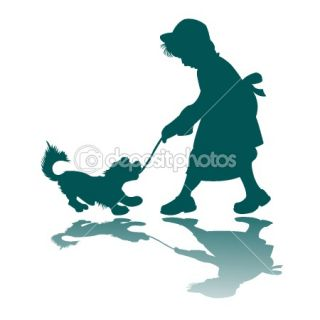 Little girl and dog silhouette  Stock Vector © Laschon Robert Paul