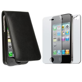Black Leather Case/ 2 piece Screen Protector for Apple iPhone 4