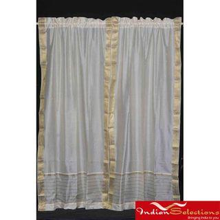 Cream 84 inch Rod Pocket Sheer Sari Curtain Panel Pair (India