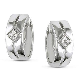 Miadora Sterling Silver 1/10ct TDW Diamond Cuff Earrings (G H, I2 I3