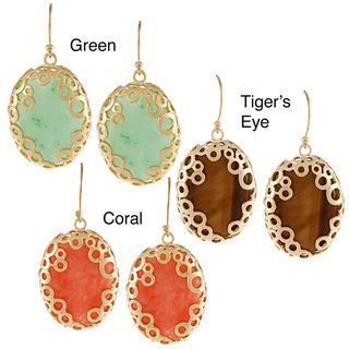 KC Signatures Gold plated Jade Oval Encased Earrings