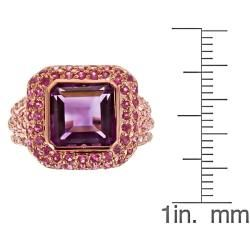 Yach Dyach Rose Gold over Silver Amethyst, Pink Sapphire and Thai