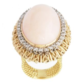 18K Yellow Gold Giant Coral Cocktail Ring