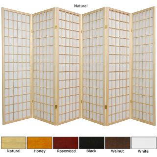 Wood and Rice Paper 5 foot 6 panel Windowpane Room Divider (China