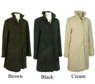 Nicole Womens Cashmere Blend Ruffled Coat