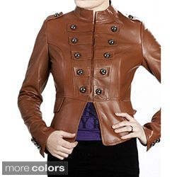 United Face Womens Lambskin Leather Snap front Military Jacket Was: $