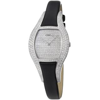 Ebel Womens Moonchic Diamond Pave Dial Black Satin Strap Watch