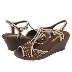 Skechers Tickeled Pink Brown and Yellow Polka Dot