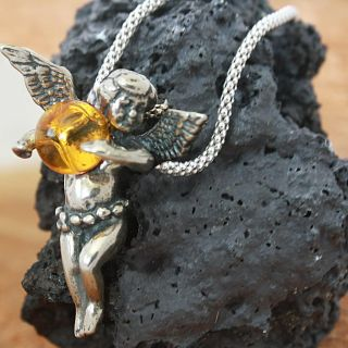 Sterling Silver Yellow Amber Angel Necklace (Poland)
