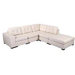 Kami 6 piece Modular Cream Leather Sectional