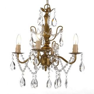 Gallery 4 light Wrought Iron and Crystal Gold Finish Chandelier