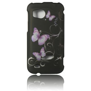Luxmo Purple Butterfly Rubber Coated Case for HTC Rezound/ Vigor