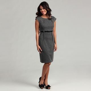 Connected Apparel Womens Grey Belted Dress